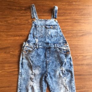 Spoon jeans destroyed overalls sz 11